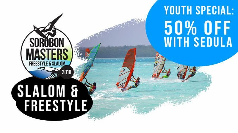 Freestyle and Slalom category of Sorobon Masters 2019 in Bonaire, Dutch Caribbean. Discount applies to windsurfers of 19 or under and only after providing a valid Sedula.