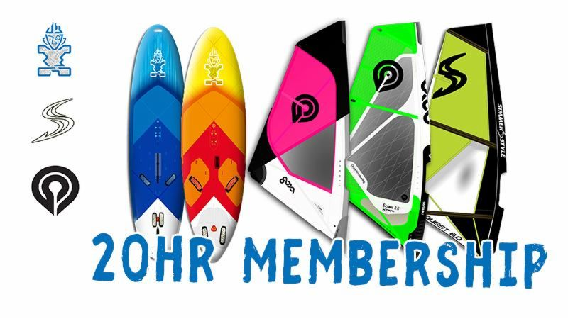 20-hour membership for Entry DPC equipment of Goya boards and sails, Starboard boards and Simmerstyle sails.