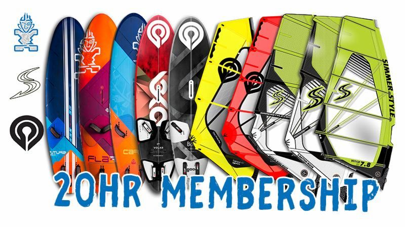 20-hour membership for Premium DPC equipment of Goya boards and sails, Starboard boards and Simmerstyle sails.